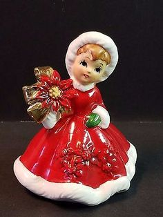 Vtg Ceramic 1950s Porcelain Lefton Xmas Decoration Figurine Poinsettia Red Dress