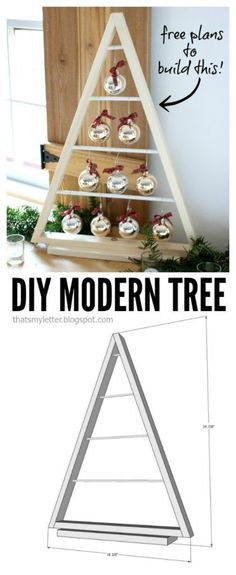 DIY modern wood tree decoration with free plans