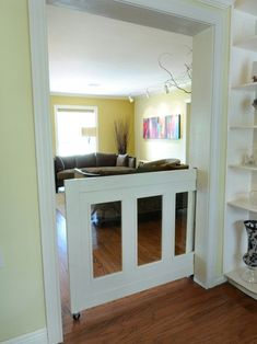 Pocket door for baby/dog gate.Whole House Remodel- Garden Oaks Open Kitchen And Living Room, Kitchen Dinning, Dining Rooms, Half Doors, Sweet Home, Diy Casa, Baby Gates, Child Gates, Home Living