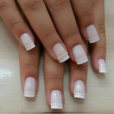 40 Elegant Look Bridal Nail Art Ideas 1 – Style Female Wedding Nail Polish, Bridal Nail Art, Natural Wedding Nails, Natural Nails, Nail Polish Designs, Nail Art Designs, Cute Nails, My Nails, Nail Manicure
