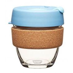 KeepCup small glass cup cork band 8oz (227ml) – rock salt