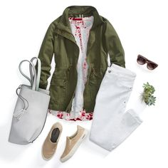 Glamping is the answer to the glam girl's need for R&R, without sacrificing the finer things. You won't be getting dirty so enjoy your decked-out airstream and wine & cheese plate in versatile white jeans. Pair 'em with a cargo jacket at night—and throw in some tie-dye for good measure.