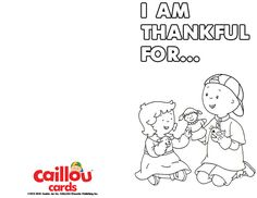 Caillou: Happy Thanksgiving Printable Card