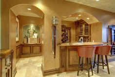 Mediterranean Bar with High ceiling, St. Augustine Flat Panel Cabinet Door, Leaded Glass Cabinet Door - LG-27