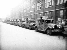 Cars are covered in flowers as part of a Chrysler Parade to honor beauty queens, Sept. 1, 1926. — Chicago Tribune historical photo