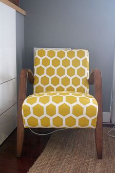 DIY Stenciled Armchair | A Little Bite of Everything  Like the wall colour & love the chair