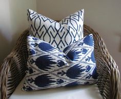 Indigo Blue and White Ikat Designer Throw Pillow Cover,  Decorative Accent Pillow