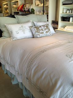 """Our """"Lily Allesandra Bed"""" available at Amelia's Fine Linens, Chesterfield, MO Fine Linens, Chesterfield, Comforters, Bedding, Lily, Blanket, Furniture, Home Decor, Homemade Home Decor"""