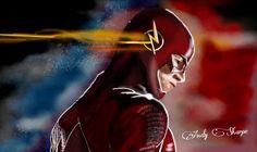 The Flash drawn on galaxy note 10.1 using picsart