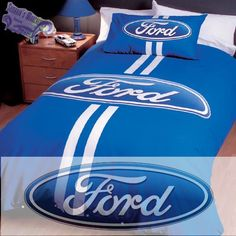 Ford Logo Bed Set ~ my little man would be ecstatic! Cute Bedding, Bedding Sets, Truck Room, Ford Girl, Cool Countries, Baby Boy Rooms, Room Themes, Mustangs, Ford Trucks