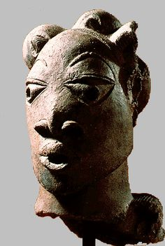Nok terra cotta figures and busts represent sub-Sahara Africa's oldest sculptures (200 BCE - 200 CE); the Nok culture flourished in what is now Nigeria. The elaborate hairdos of the heads are thought to reflect their high status; with a fancy hair style, as depicted, the person would have been unable to carry a heavy load. These heads may have been carried in ceremonies atop costumes made of more perishable materials.