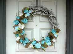 Shabby Chic Wreath w/ Burlap and Fabric by TheSpeckledEgg2011.  Love this from etsy.
