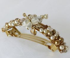 gold pearls  hair comb bridal hair clip french barrette by Phaness, $34.00