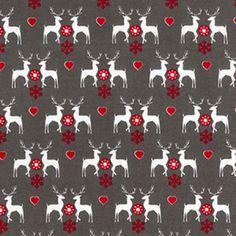 Nordic Reindeer Print Cotton Fabric