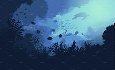 Colorful underwater life template with marine plants swimming fishes and turtle vector illustration. Underwater Drawing, Ocean Drawing, Underwater City, Underwater Creatures, Underwater Photos, Underwater Photography, Animal Photography, Underwater Animals, Underwater Background