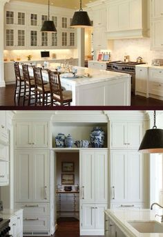 pass through white kitchen, interesting idea New Kitchen, Kitchen Dining, Kitchen Decor, Kitchen Cabinets, Kitchen Ideas, Glass Cabinets, Shaker Cabinets, Cheap Kitchen, Kitchen Pantry