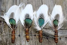 Forest Indian Feather Boutonnieres by flowersbythevase on Etsy