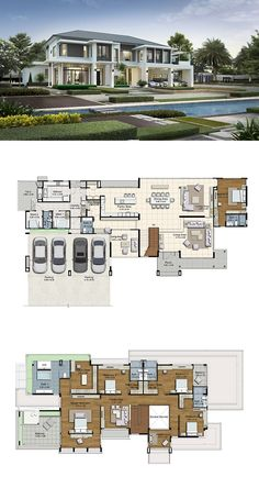 LAND AND HOUSES Modern House Plans, Modern House Design, Big Modern Houses, Luxury House Plans, Villa Design, Dream House Plans, Sims 4 Houses, Mansion Plans, Prayer Room