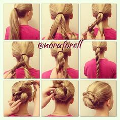 Rope Braid Bun.  #hair #pelo #cheveux #ponytial #hairstyle #tocado #peinado #tresse #braid #trenza