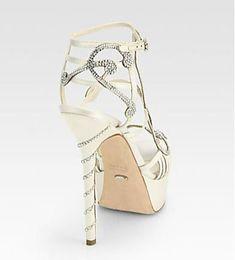 Sergio Rossi white bridal sandals #sergiorossibridal