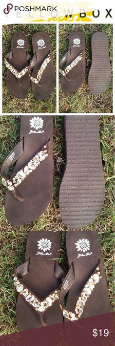 Yellow Box Jeweled Flip flops 7.5 GUC Yellow Box Jeweled Flip flops 7.5 GUC Yellow Box Shoes Sandals