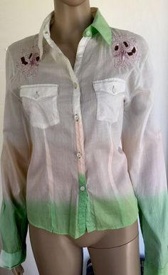 New Rocawear Ombre Embroidered Sequin Western Shirt Top Blouse SZ XL Sheer Sexy  | eBay