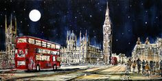 Westminster Bridge at Night  http://wyecliffe.com/collections/nigel-cooke-art/products/westminster-bridge-at-night-nigel-cooke