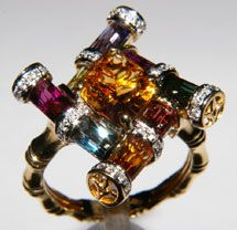 Bellarri 18K Monte Carlo Collection Ring with Citrine Diamonds and Multi-Gemstones