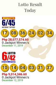 Lotto Result Today Lotto with jackpot prize of 9 million.