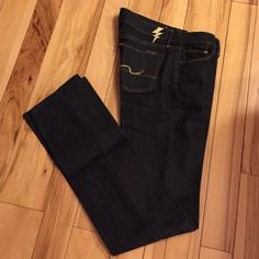 One day Sale! NWT 7 For All Mankind denim I can't believe these haven't sold! Beautiful! NWT. Straight leg. Dark indigo wash. Metallic Gold stitching. Denim Dressed up! Mid rise. Size 26. Approx. 34 inch inseam. Truly lovely jeans, just sadly never fit me right. :( just dropped from 40 to 22. Will not go lower unless bundled! Price returns on Saturday to 40! 7 for all Mankind Pants Straight Leg