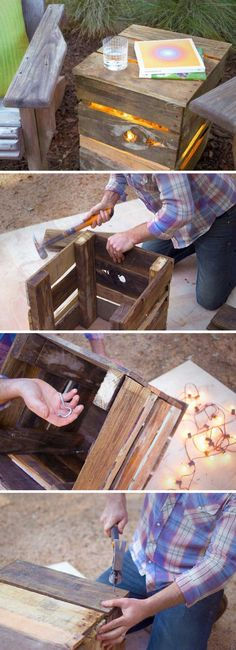 25 DIY Succulent Garden Ideas and Tutorials Pallet Light, Wood Projects, Projects To Try, Outdoor Lighting, Lighting Ideas, Light Project, Little Plants, Succulents Garden, Fairy Lights