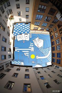 L'illustrateur français Thomas Lamadieu continue à dessiner des personnages amusants à l'intérieur des morceaux de ciel découpés par des bâtiments photographiés à la verticale depuis des cours d'immeubles ou des rues étroites.