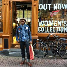 Denim outfit 2.0. This dear South African customer came in the store for the second time this month to get himself a pair of Red Wings, this time he bought one of the last exclusive Lineman boots! Thanks dude! - www.redwingamsterdam.com...
