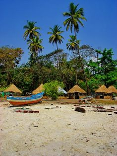 Beach resort huts near Tokey village, Sierra Leone