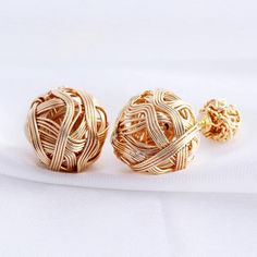 Korean New Fashion Double Sided boucle d'oreille Gold Plated Ball Stud Earrings For Women charms bijoux E1393