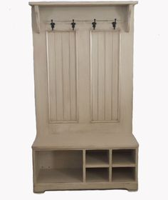 Hall Tree With Bench / Cubby Shoe Bench / Coat Hanger /