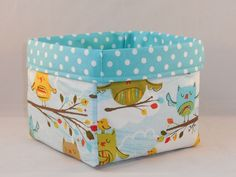 Aqua Owl Themed Fabric Basket For Storage Or Gift Giving
