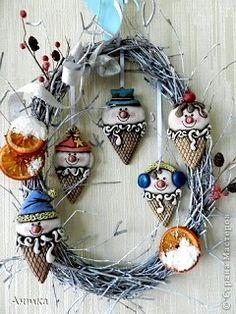 новогодний венок своими руками ёлочные игрушки из солёного теста