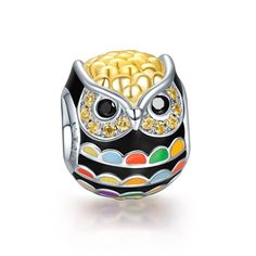NinaQueen 925 Sterling Silver Gold Plated Owl Charms with Zirconia #NinaQueen