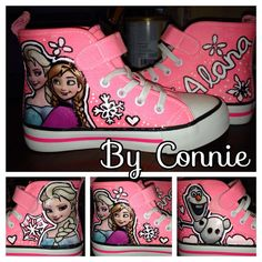 Frozen Anna and Elsa Pink Sneakers on Etsy, $50.00