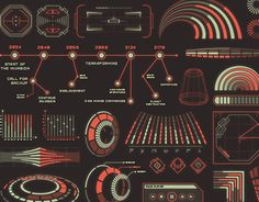 When the aliens invade (and they surely will), we'll need to be familiar with their UI! Xeno UI uses alien geometry and includes tons of infographics, HUD elements, crosshairs, charts, windows, letters and more!