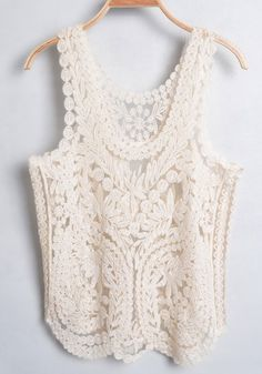 Light Apricot Lace Embroidery Sleeveless Cotton T-Shirt$20.97