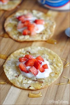 Baked until crispy with a little sugar and crushed almonds, and topped with yogurt and fruit, these wonton wrappers become an awesome snack - great substitute for chips!