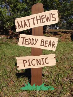 Teddy Bear Picnic Sign  Customizable Faux Wooden by CSCuteCrafts