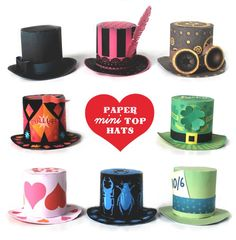 Easy assemble paper no-sew mini top hat templates for parties/fiestas. Simple instructions on how to make a mini top hat. Print & make as many as you like! K Cup Crafts, Hat Crafts, Crafts For Kids, Paper Crafts, Teen Crafts, Hat Template, Snowman Hat, Halloween Hats, Crazy Hats