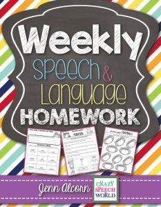 Crazy Speech World:  Weekly Speech Therapy Homework!