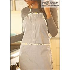 Upcycle men's shirts to create aprons! The smock fastens at the neck with a button tab closure and sports extra- long ties to wrap to the front, stitching details and two large patch pockets. The second style, for men or women, is crafted from a shirt
