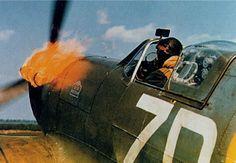 Fiery start up. Spitfire Mk 9