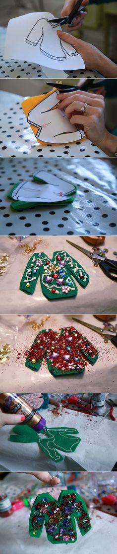 Ugly Sweater ornaments by Aunt Peaches - Aunt Peaches used Aleenes Tacky glue and Tulip Dimensional paints a. Puffy Paint to make these sweaters pop! Tacky Christmas, Christmas Crafts For Kids, Christmas Activities, Felt Christmas, Christmas Projects, Ugly Christmas Sweater, Winter Christmas, Ugly Sweater, Holiday Crafts