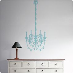 An ice mint Chandelier in the Tozer home